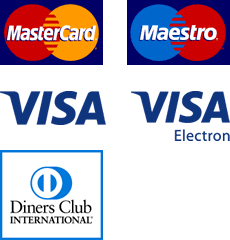 MasterCard, Maestro, Visa, Visa Electorn, Diners Club International